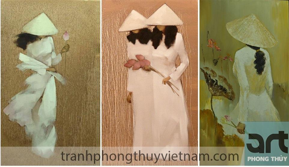 bộ tranh ghép thiếu nữ và hoa sen