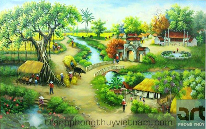 tranh làng quê sơn dầu đẹp