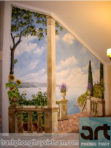 mẫu tranh tường phong cảnh đẹp giá rẻ