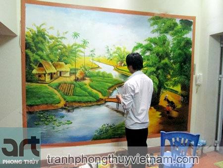 tranh tường phong cảnh đồng quê