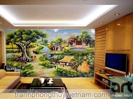 tranh tường phong cảnh làng quê