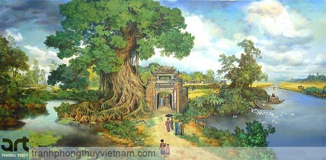 tranh sơn dầu làng quê việt nam