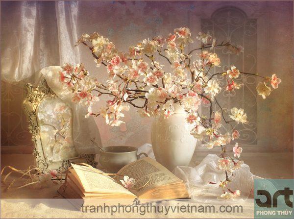 tranh sơn dầu tĩnh vật hoa