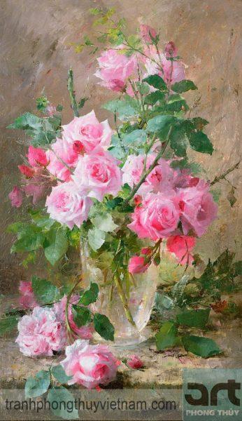 tranh sơn dầu tĩnh vật hoa hồng