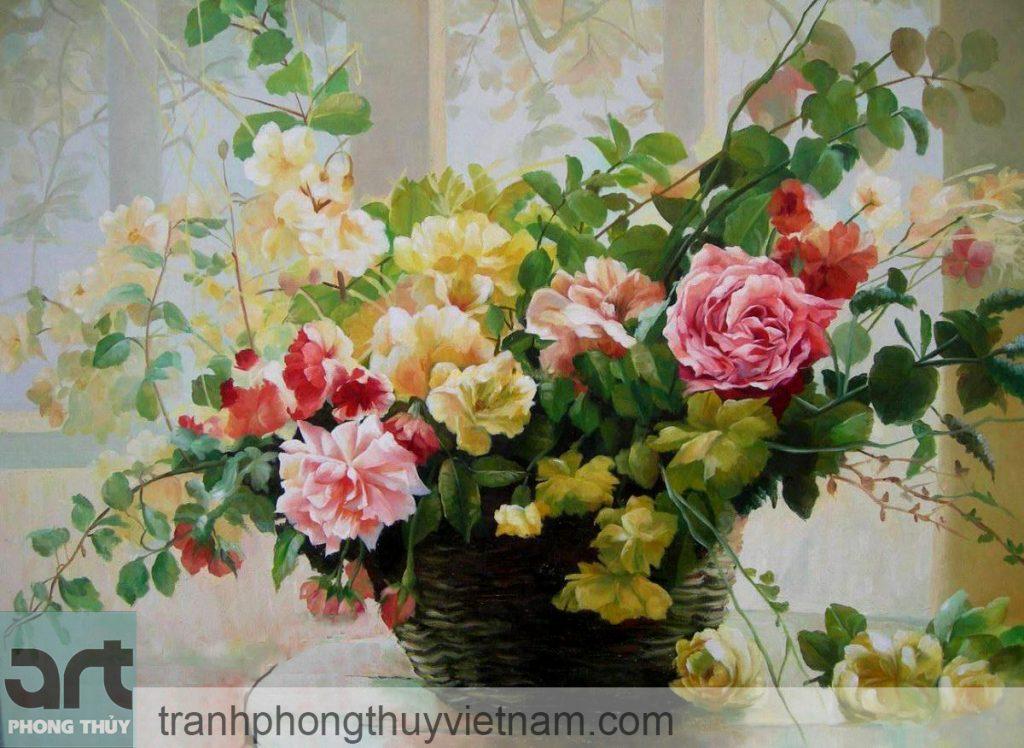 tranh tĩnh vật hoa lá