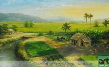 tranh làng quê sơn dầu