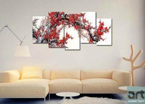 Ý nghĩa tranh hoa đào hoa mai trong phong thủy