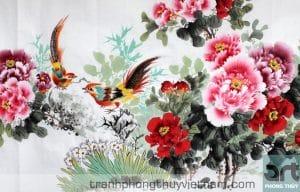tranh hoa mẫu đơn kết hợp với chim