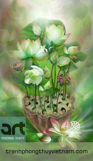 tranh hoa sen nghệ thuật