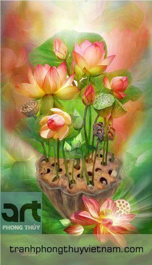 tranh hoa sen trang trí đẹp