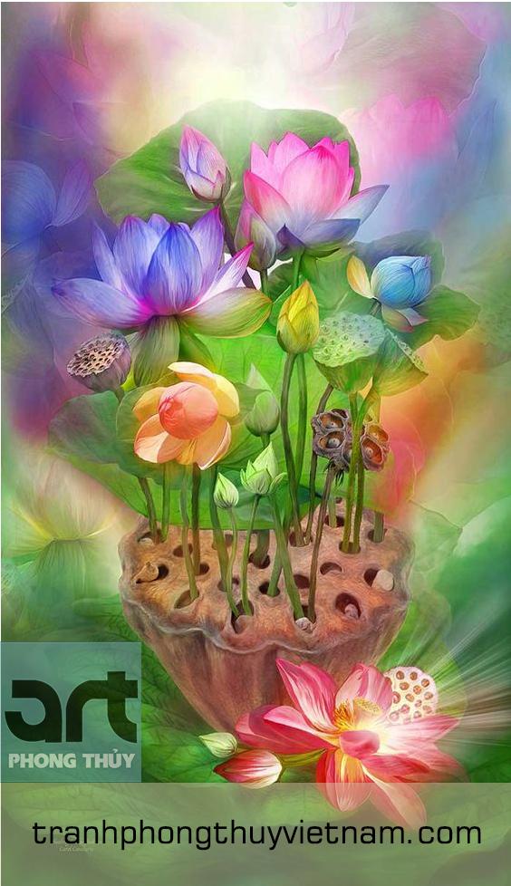 tranh hoa sen trang trí phòng thờ