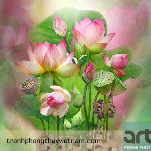 tranh phòng thờ hoa sen