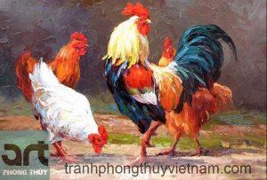 tranh phong thủy đàn gà