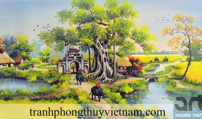 tranh đồng quê làng quê đẹp