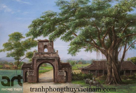 tranh đồng quê phong cảnh quê hương