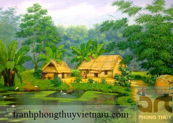 tranh làng quê đẹp treo phòng khách
