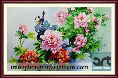 tranh phong thủy hoa mẫu đơn