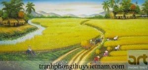 tranh vẽ phong cảnh đồng quê đẹp