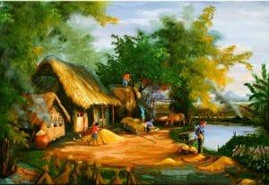 vẽ tranh làng quê đẹp