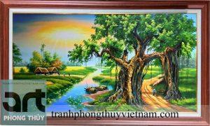 tranh đồng quê đẹp trang trí phòng khách gia đình