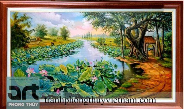 tranh đồng quê đẹp vẽ phong cảnh đầm sen