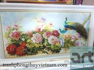tranh phong thủy chim công và hoa mẫu đơn
