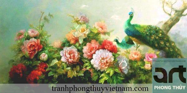 tranh phong thủy hoa mẫu đơn chim công