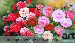 tranh phong thủy hoa mẫu đơn đẹp giá rẻ