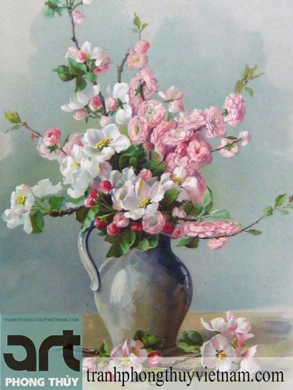 tranh sơn dầu bình hoa đẹp