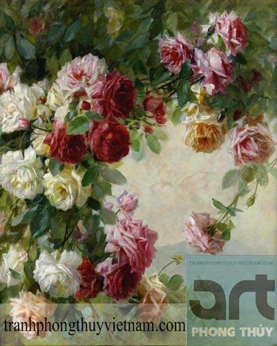 tranh sơn dầu bụi hoa hồng đẹp