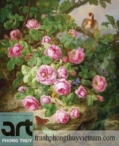 tranh sơn dầu bụi hoa hồng