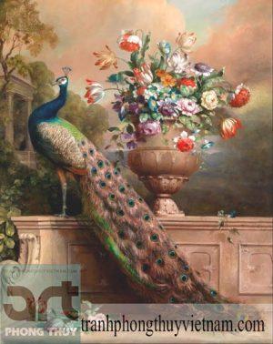 tranh sơn dầu chim công