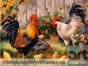 tranh sơn dầu đàn gà