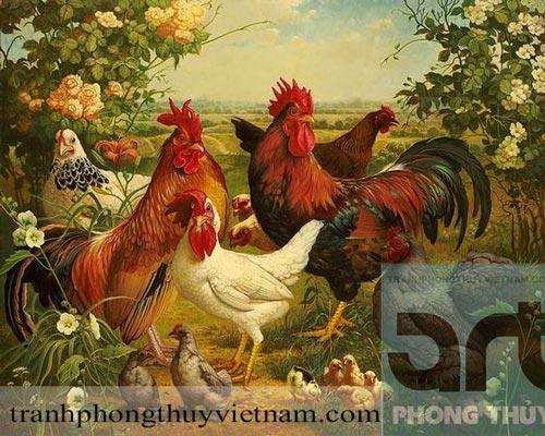 tranh sơn dầu đàn gà tuyệt đẹp