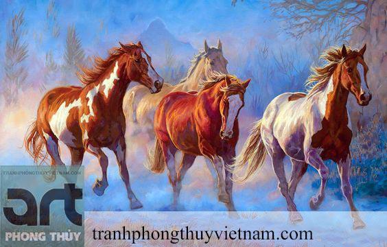 tranh sơn dầu đàn ngựa