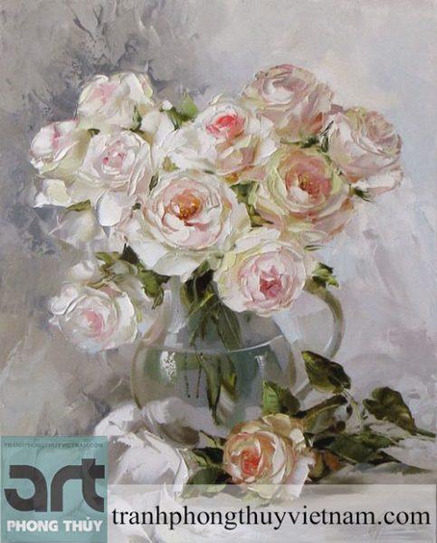 tranh sơn dầu hoa hồng đẹp