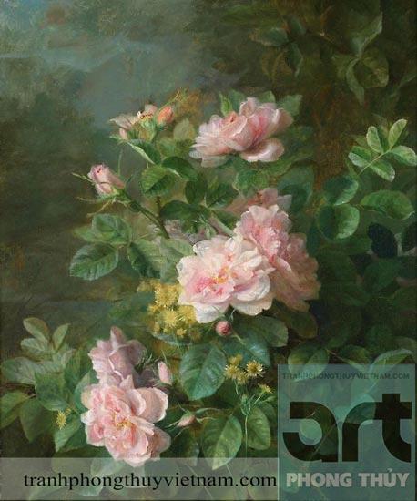 tranh sơn dầu hoa hồng đẹp giá rẻ tại hà nội