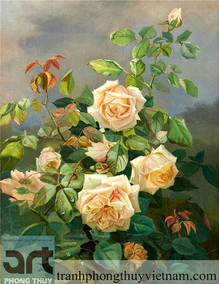 tranh sơn dầu hoa hồng tuyệt đẹp