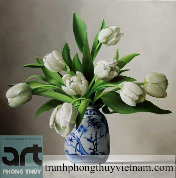 tranh sơn dầu hoa tulip