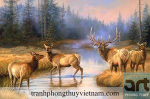 tranh sơn dầu phong thủy đàn hươu