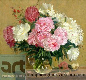 tranh sơn dầu tĩnh vật hoa đẹp