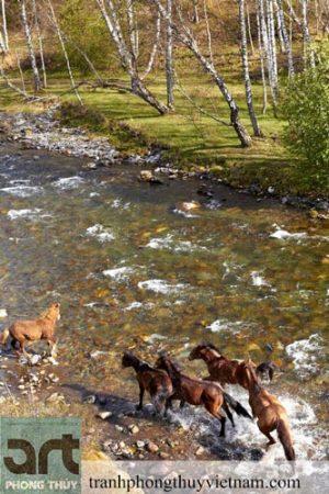tranh sơn dầu vẽ đàn ngựa