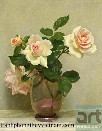 tranh tĩnh vật bình hoa hồng