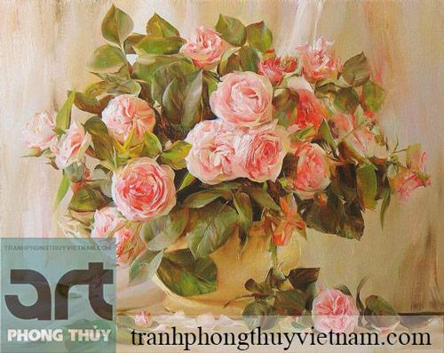 tranh tĩnh vật hoa hồng đẹp