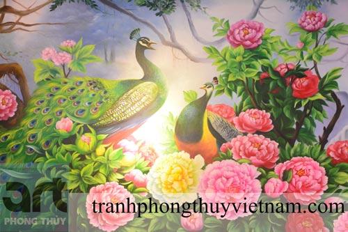 cách treo tranh phong thủy chim công và hoa mẫu đơn
