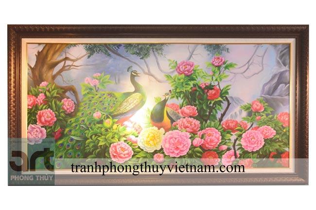 tranh chim công và hoa mẫu đơn