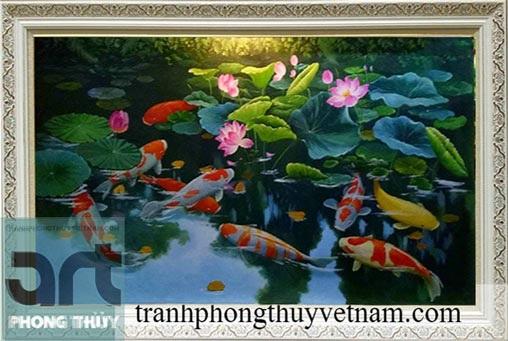 tranh phong thủy sen cá tuyệt đẹp