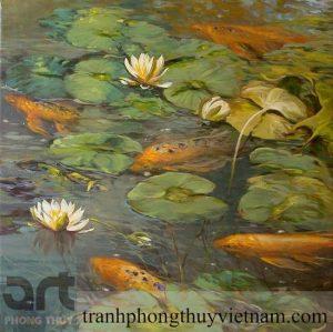 tranh sơn dầu sen cá