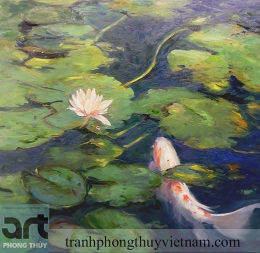 tranh sơn dầu sen cá treo phòng khách