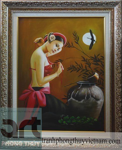 tranh sơn dầu thiếu nữ